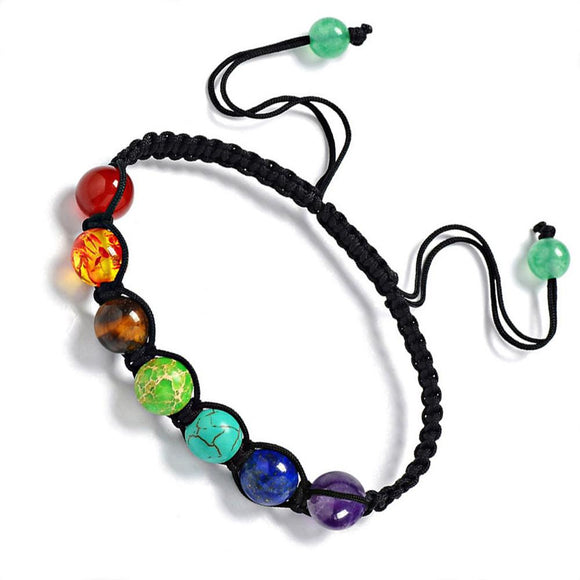 SUSENSTONE Hot 7 Chakra Healing Balance Beads Bracelet Energy Bracelet Lovers Casual Jewelry 13 Rainbow Natural Stone Wristlet