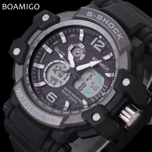 men sport watches LED digital watches military analog quartz watch rubber BOAMIGO brand gift clock 50M waterproof reloj hombre