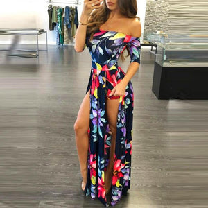 2017 New Summer Women's Vintage Dress Floral Print Off Shoulder Split Long Evening Party Maxi Dress Beach Dresses Ladies #627