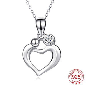 YFN Genuine 925 Sterling Silver Love Heart Mom And Child Mother Love Crystal CZ Pendant Necklace Gift For Women
