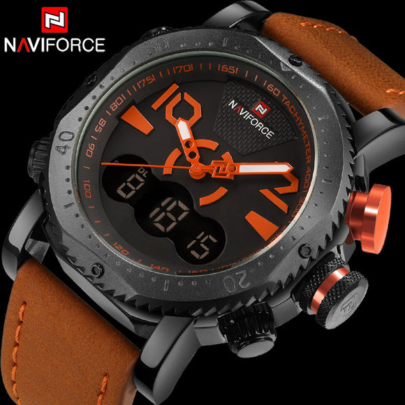 NAVIFORCE Brand Men Sport Watches Dual Display Watch Men LED Digital Analog Clock Orange Quartz Watch 30M Waterproof Male Clock