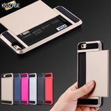 KISSCASE Heavy Duty Case For iPhone 7 iPhone 7 6 6S Plus Cases Slide 2 Card Holder Armor Cover For iPhone 6 6S iPhone 5S SE Case