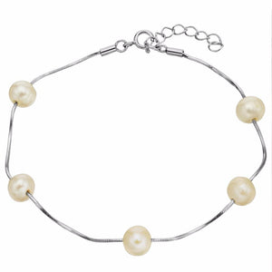Bella Fashion 925 Sterling Silver Bridal Bracelet Freshwater Cultured Pearl Chain Bracelet For Women Wedding Party Jewelry Gift