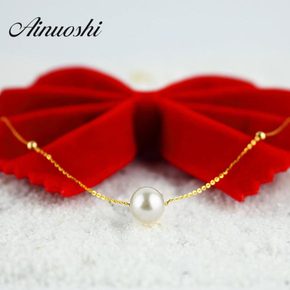 AINUOSHI 18K Yellow Gold Natural Cultured Freshwater Pearl Link Chain 2016 Simple Design Pearl Necklace Women Bijoux