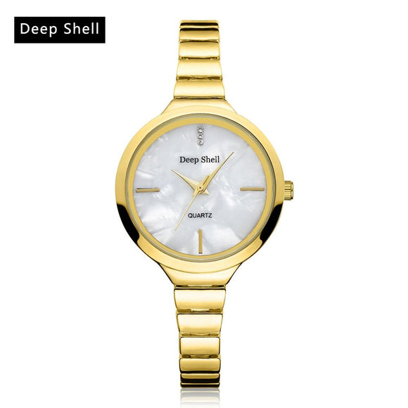 DeepShell Women Watches Crystal Diamond Big Dial Women's Simple Watches Elegant Rhinestone Bangle Clock Relogio