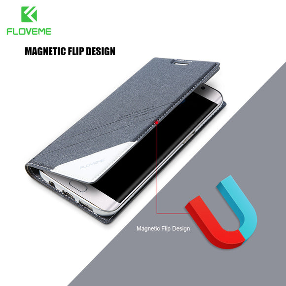 FLOVEME Leather Case For Samsung S8 Plus S7 Edge Case Flip Cover For Samsung Galaxy S5 S6 S7 Edge / S6 Edge Plus S8 Plus Cases