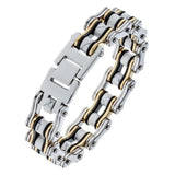 Mens stainless steel link chain bracelet biker heavy jewelry birthday gifts for dad him boyfriend D044 wholesale 9""