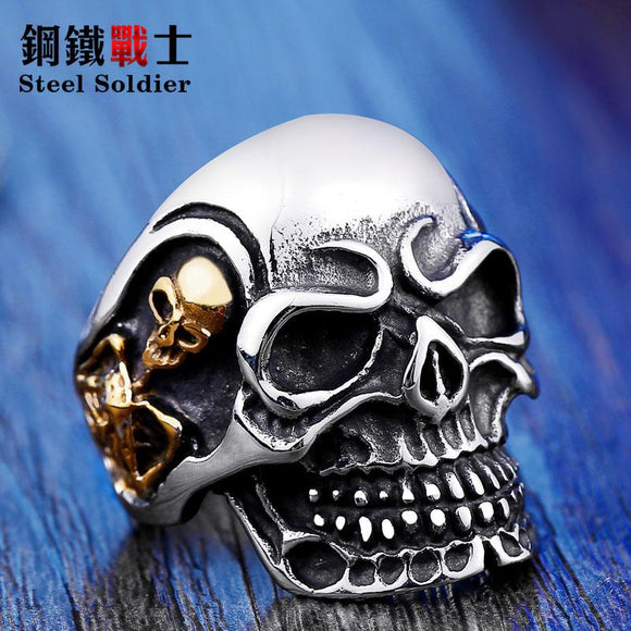 Steel soldier Fashion Ring Stainless Steel Rings For Man Big Tripple Skull Ring Biker Jewelry