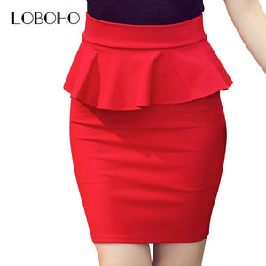Plus Size Women Pencil Skirts Ruffles 2017 Autumn Fashion Korean Casual Ladies Bodycon Skirts Elegant Open Slit Skirts Red Black