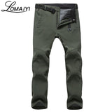 LOMAIYI Stretch Waterproof Casual Pants Men Winter Warm Fleece Shark Skin Trousers Male Black Sweatpants Men's Work Pants,AM054