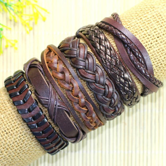 handmade bangle 6pcs/lot ethnic tribal adjustable wrap genuine leather bracelet men