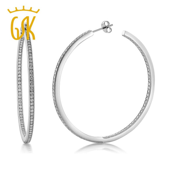GemStoneKing 925 Sterling Silver Inside Out Hoop Earrings Women's Pave Round White Cubic Zirconia CZ (1.50 cttw, 52MM)