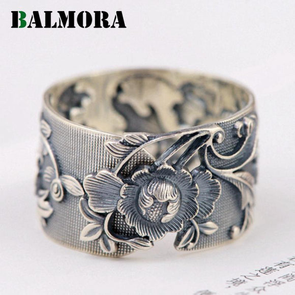 BALMORA Vintage Flower 990 Pure Silver Open Rings for Women Lover Party Gift Flower Ring Thai Silver Jewelry Accessories