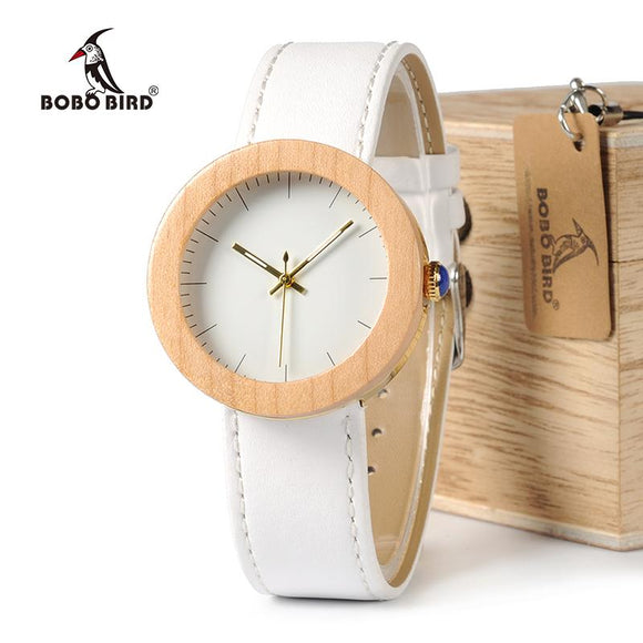 BOBO BIRD WJ28 Pine Wooden Steel Simple Dial Face Genuine Leather Band Quartz Watch With Wooden Gift Box For Women relojes mujer