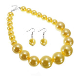 Women's Jewelry Luxury Pearl Resin Statement Dangle Bib Necklace Earrings Set