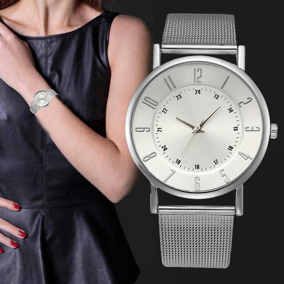 Silver Women Watches Gift Luxury Stainless Steel Metal Watch Bracelets Montre Femme Hot Design Quartz Watch Relogio