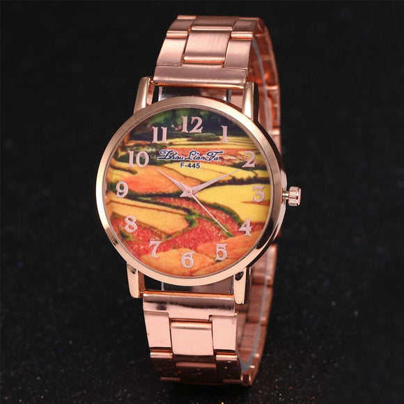 ZhouLianFa Rose Gold Watches Ladies Stainless Steel Quartz Watch for women Landscape Business Clock Gift