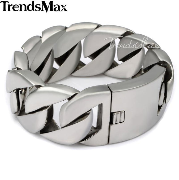 Trendsmax 24/31mm Wide Biker 316L Stainless Steel Heavy Curb Chain Bracelet Polished Mens Boys Chain Jewelry HBM24
