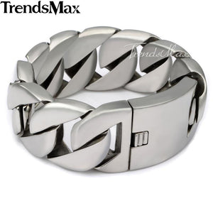 Trendsmax 24/31mm Wide Biker 316L Stainless Steel Heavy Curb Chain Bracelet Polished Mens Chain Jewelry
