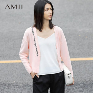 Amii Casual Women Cardigan 2017 Embroidery Open Stitch V Neck Female Knit Cardigan Sweaters