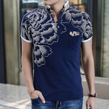 2017 New Men POLO Shirt Fashion Flower Print Polo Homme Slim Fit Short-sleeve Camisa Polo Men Summer Tops&Tees MT497