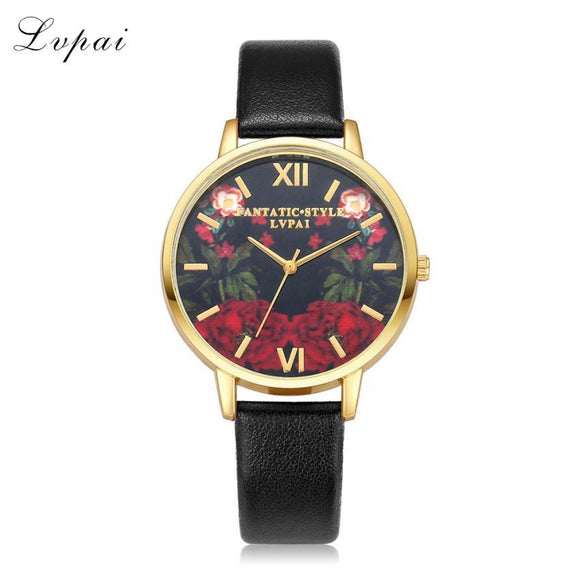 LVPAI Simple Gold Watches Flower Dress PU Leather Quartz Watches Women Fashion Watch 2017 Gift Relogio Masculino De Luxo