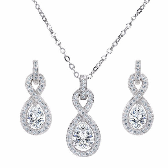 Bella Fashion 925 Sterling Silver Infinity Bridal Necklace Earrings Set Cubic Zircon Wedding Party Jewelry Set Party Daily Gift