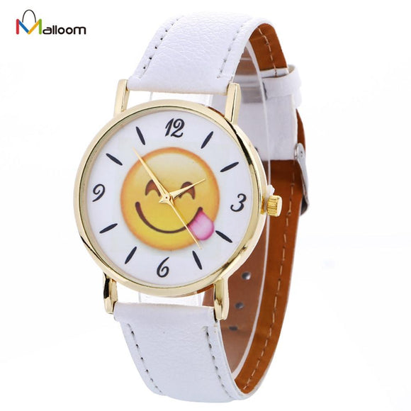 Malloom Cute Smile Women Watches Simple Faux Leather Quartz Watch Wrist Watches Relogio Masculino Digital
