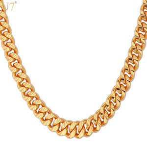 U7 Curb Chain Necklace Hollow Miami Cuban Link Chain For Men Gift 6mm Long/Choker Gold Color Hip Hop Jewelry N383