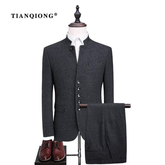 TIAN QIONG Men's Single Breasted Wool Suit Sets Fashion Chinese Tunic Suit Men Slim Fit Formal Black Blazers Jacket and Trousers