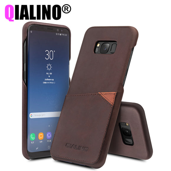 QIALINO Luxury Case for Samsung Galaxy S8 Fashion Genuine Leather Phone Bag Cover for Samsung S8 Plus Back Case for 5.6/6.1 inch