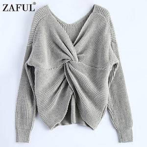 ZAFUL 2017 New 4 colors V Neck Twisted Back Sweater Women Jumpers Pullovers Long Sleeve Knitted Sweaters pull femme