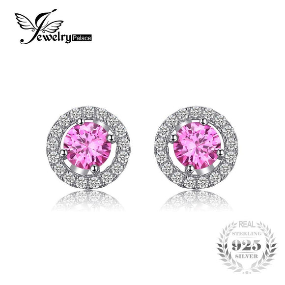 JewelryPalace Round 1.4ct Created Pink Sapphire Real 925 Sterling Silver Stud Earrings Classic Fine Jewelry for Women