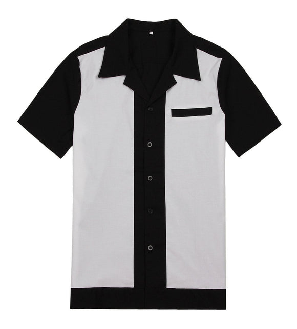 Men Shirts Turn-down Collar Slim Fit Short Sleeve Mens Chemise Homme Casual Black With White Stitching Shirt ping