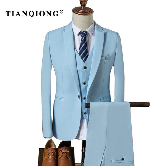 TIAN QIONG Suit Men 2017 Autumn Slim Fit Wedding Suits for Men 3 Piece Jacket Pants Vest Suit Black Sky Blue Mens Formal Wear