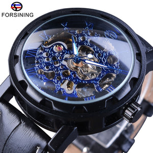 Forsining Blue Dial Display Steampunk Gear Movement Leather Belt Men Watch Top Brand Luxury Men's Skeleton Watch Automatic Clock