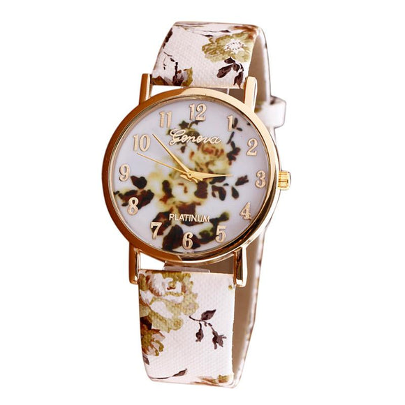 Chinese Style Flower Women Watches PU Leather Metal Watch Bracelets Discount Watches Women Clock Relogio