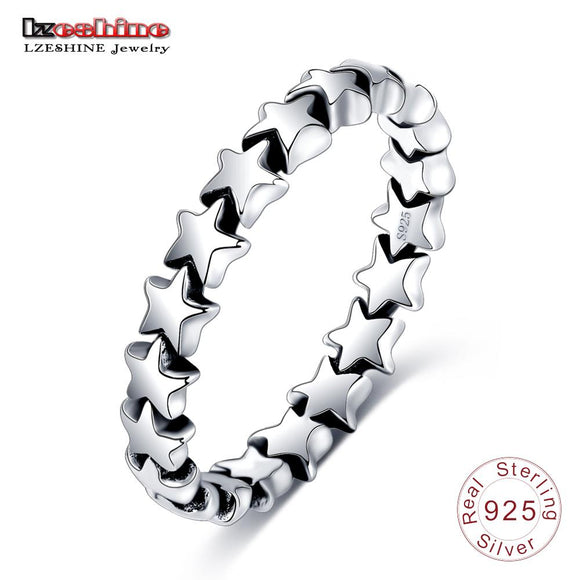 LZESHINE 2017 Fashion Rings 100% Authentic 925 Sterling Silver Star Shape Finger Ring For Women