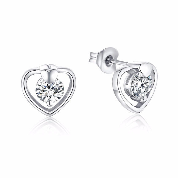 YL 925 Sterling Silver Heart Stud Earrings for Women Design Fine Jewelry with Topaz Natural Stone Wedding Earrings