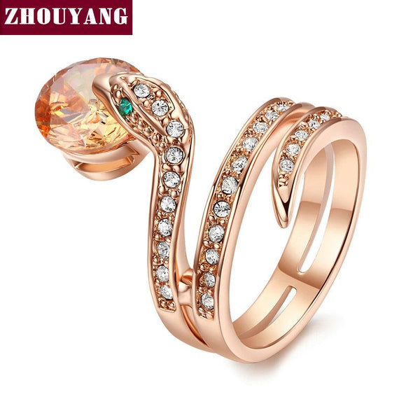 Top Quality Snake Show Bead Ring Rose Gold Color Austrian Crystals Full Sizes