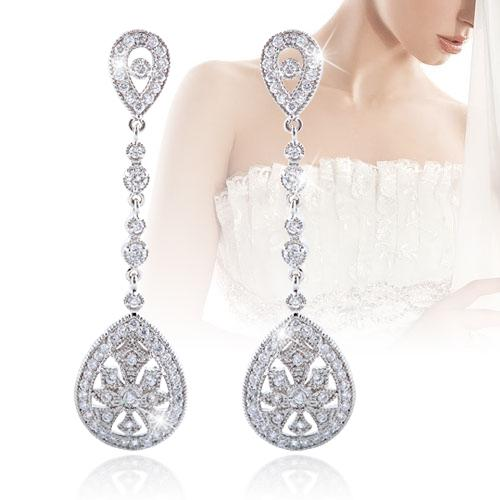 Bella Fashion Luxury CZ Cubic Zircon Tear Drop Bridal Earrings Sparkling Dangle Earrings For Wedding Bridesmaid Party Jewelry