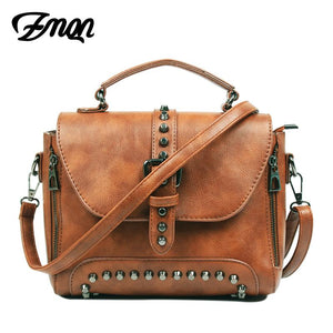 ZMQN Crossbody Bags For Women Messenger Bags 2017 Vintage Leather Bags Handbags Women Famous Brand Rivet Small Shoulder Sac A522