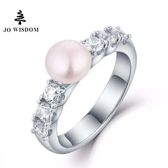 JO WISDOM 100% 925 Silver Ring for Women Wedding Ring with Freshwater Pearl for Wedding Decorations