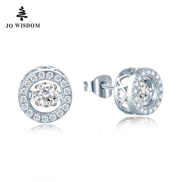 JO WISDOM Silver Stud Earring Fine Jewelry with Natural Topaz Dancing Stone Earrings for Women Price Best Gift