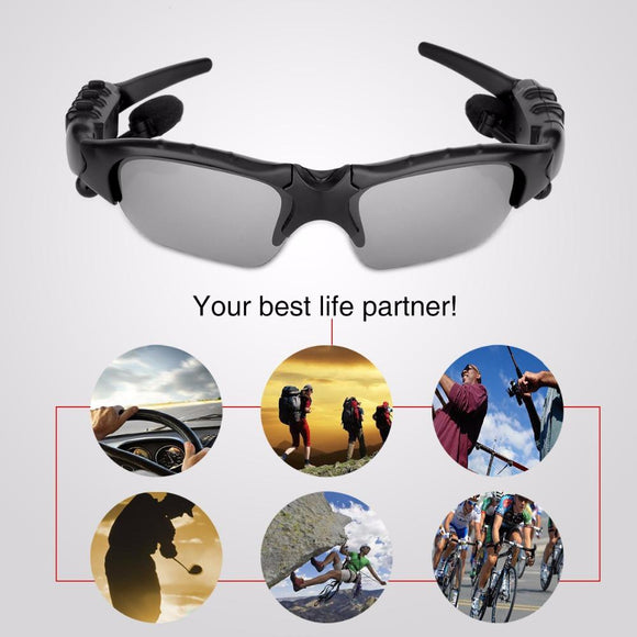 Bluetooth Polarized Sunglasses Wearable Pedometer Smart Monitoring Function with Mic Stereo Wireless Headphone for smartphone