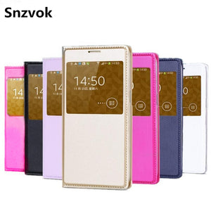Snzvok View Window Flip Case For Samsung Galaxy S8 Plus 2017 A3 A5 A7 J3 J2 J5 J7 S6 S7 edge A8 Note 8 5 PU leather phone