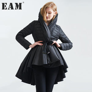 [EAM] 2017 Temperament Winter Fashion Loose Coat Tide New Pattern Dovetail Hem Parkas Jackets Women Solid Color Coat YA108