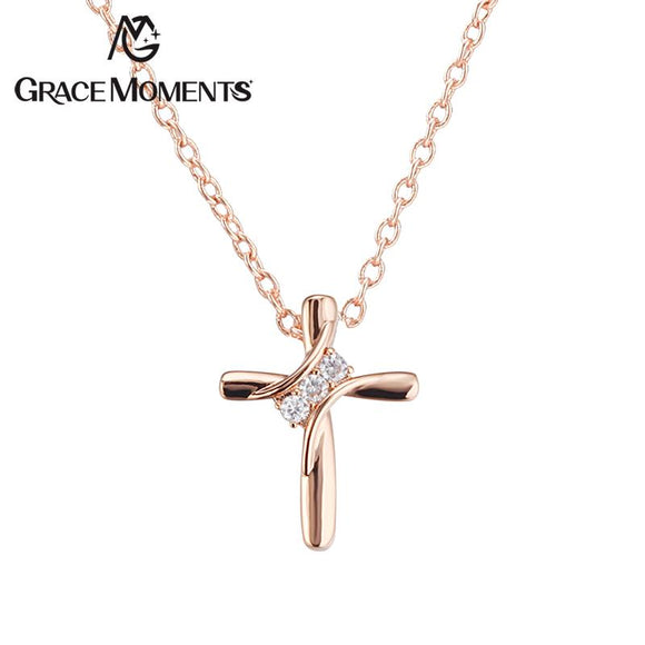 Grace Moments 19*24mm Crystal Cross Pendant Necklace Gifts Luxury Jewelry AAA Quality Jewel