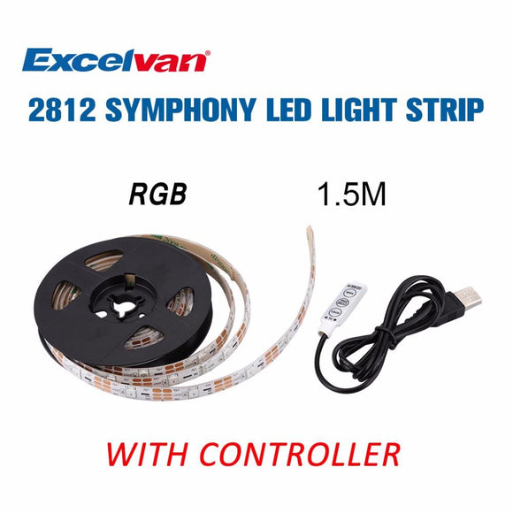 Excelvan USB LED Strip SMD2812 Flexible Light 0.5M/1.5M TV Background Lighting RGB LED Strip Adhesive Tape Home Decoration Lamp