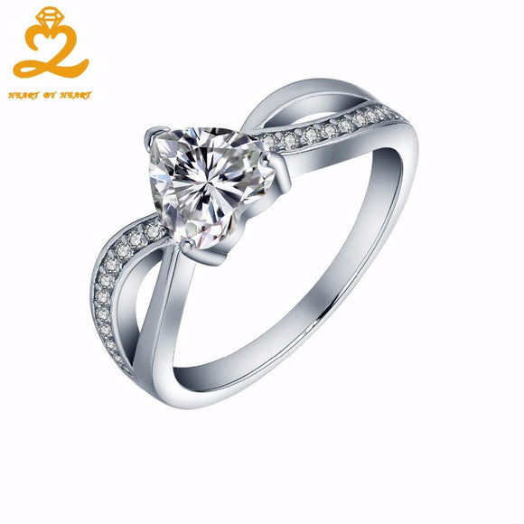 Heart By Heart Big Rings for Women with Gem Stone Solid 925 Sterling silver Ring for Engagement Wedding Luxury Jewelry